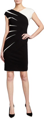 Escada Two-Tone Jersey Cap-Sleeve Dress