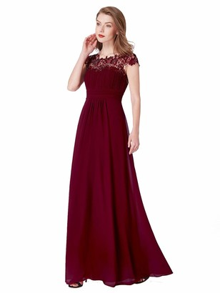 Ever Pretty Ever-Pretty Women's Lacey Neckline Open Back Ruched Bust Evening Dress Burgundy 10UK