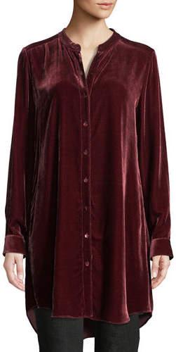 Eileen Fisher Long Washable Velvet Tunic Top, Plus Size