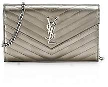Saint Laurent Women's Monogram Matelassé Metallic Leather Wallet-On-Chain