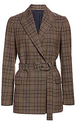 Brunello Cucinelli Women's Double-Breasted Plaid Belted Virgin Wool & Cotton Jacket