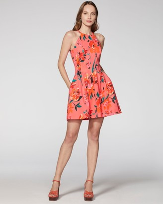 Vince Camuto Floral-print Doubleknit Pleated Dress