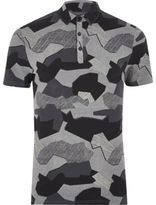 River Island Black Abstract Camo Muscle Fit Polo Shirt