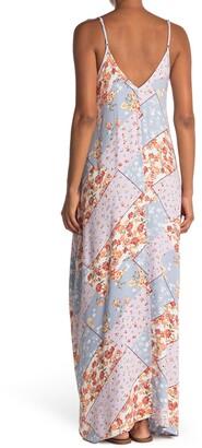 Love Stitch Patchwork Print Sleeveless Maxi Dress