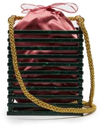 Montunas Vanda Tortoiseshell-acetate Box Bag - Womens - Green Multi