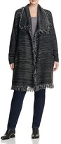 NYDJ Plus Striped Fringe Wool Coat