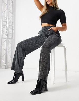 JDY wide-legged glam pants in silver