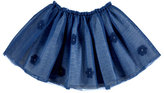 Mayoral Smocked Floral Tulle Skirt, Blue, Size 3-7
