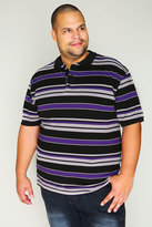 Yours Clothing Black, Grey & Purple Stripe Short Sleeve Polo Shirt