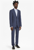 Textured Blue Suit Trousers