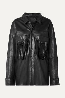 R 13 Oversized Fringed Leather Jacket - Black