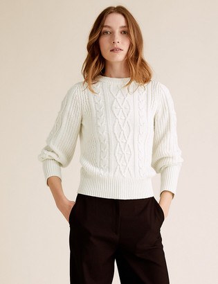 Marks and Spencer Cable Knit Crew Neck Jumper