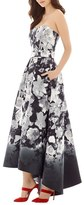 Alfred Sung Women's Floral Print Strapless Sateen High/low Dress