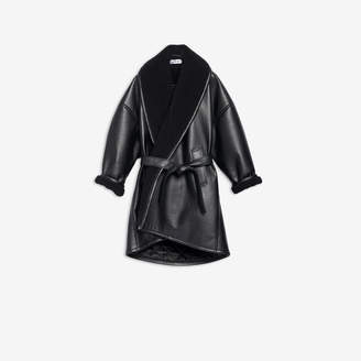 Balenciaga Light Cocoon Coat in black fake leather