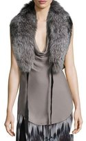 Haute Hippie Judy Fox Fur Shawl Collar W/ Leather Straps