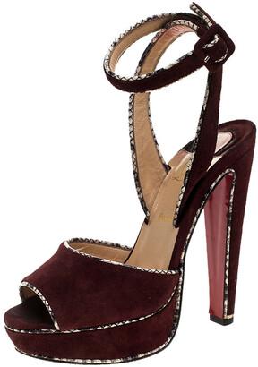 Christian Louboutin Burgundy Suede LouLou Dance Platform Ankle Strap Sandals Size 37.5