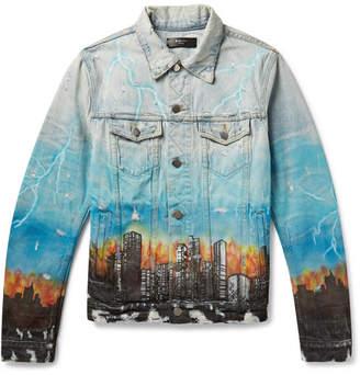 Amiri Distressed Printed Denim Trucker Jacket
