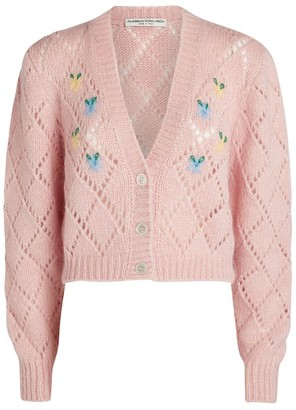 Alessandra Rich Floral-Embroidered Wool Cardigan