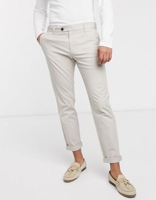 Selected Carlo slim fit trousers-Beige