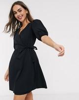 New Look puff sleeve wrap poplin mini dress in black