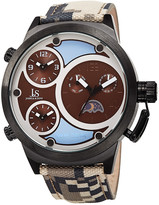 Joshua & Sons Men's Canvas Over Leather Watch