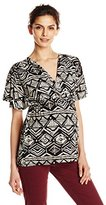 Everly Grey Women's Maternity Ophelia Flutter Sleeve Criss-Cross V-Neck and Top