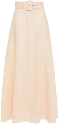 Zimmermann Super Eight Belted Linen Maxi Skirt