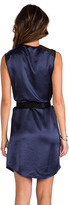 Halston Asymmetrical Neck Belted Drape Dress with Contrast Mesh