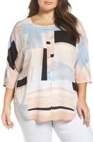Vince Camuto Plus Size Women's Subtle Landscape Print Dolman Sleeve Blouse