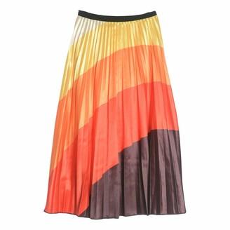Finerun Women's Graffiti Pleated Skirts Gradient Rainbow A-line Elastic Waist Mid Length Dress
