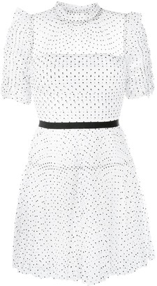 Self-Portrait Polka Dot-Print Mini Dress