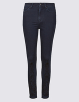 M&S Collection Embroidered Hem Mid Rise Slim Fit Jeans