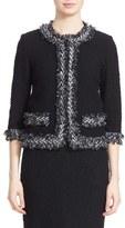 St. John Women's Fringe Trim Herringbone Knit Jacket
