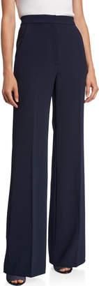 Lela Rose Maggie High-Waist Flare-Leg Pants