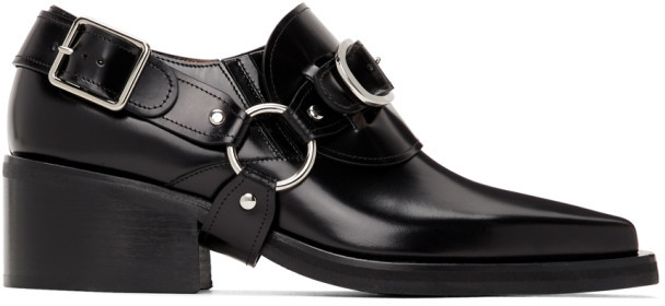 Y/Project Black Leather Buckle Loafers