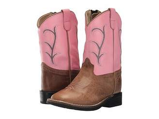 Old West Kids Boots Broad Square Toe (Toddler) (Tan Fry) Cowboy Boots