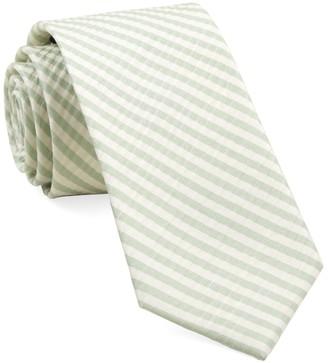 Tie Bar Silk Seersucker Stripe Spring Mint Tie