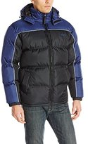 Avia Men's Front-Zip Color-Block Puffer Jacket with Detachable Hood