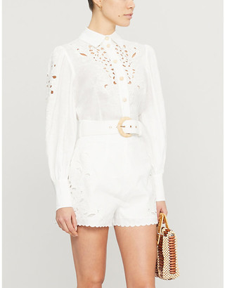 Zimmermann Peggy embroidered linen blouse