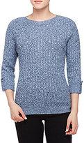 Allison Daley 3/4 Cuffed Sleeve Wide Crew-Neck Sweater