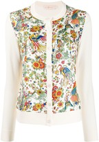 Tory Burch floral panel knitted cardigan