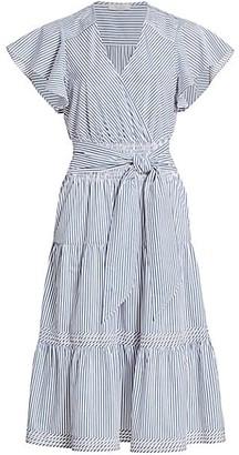 Parker Bessie Stripe Cotton Poplin Ruffle Dress
