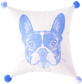 The Well Appointed House French Bulldog Pom Pom Pillow in Blue