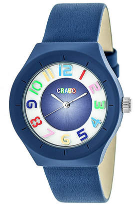 Crayo Unisex Atomic Blue Genuine Leather Strap Watch 36mm