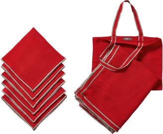 OKA Tarifa Tablecloth, Napkins & Tote Bag Set - Red