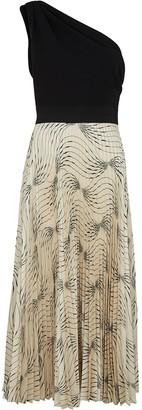 Victoria Victoria Beckham One-shoulder jersey and satin midi dress