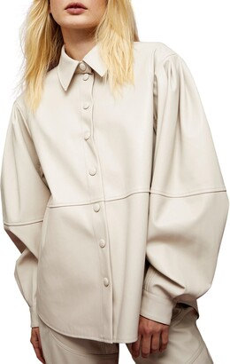 Faux Leather Seamed Shirt