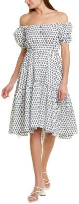 Caroline Constas Bardot Flounce Midi Dress