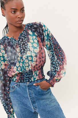 Urban Outfitters Tristan Floral Smocked Blouse