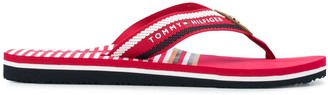 Tommy Hilfiger Striped Logo Print Flip-Flops